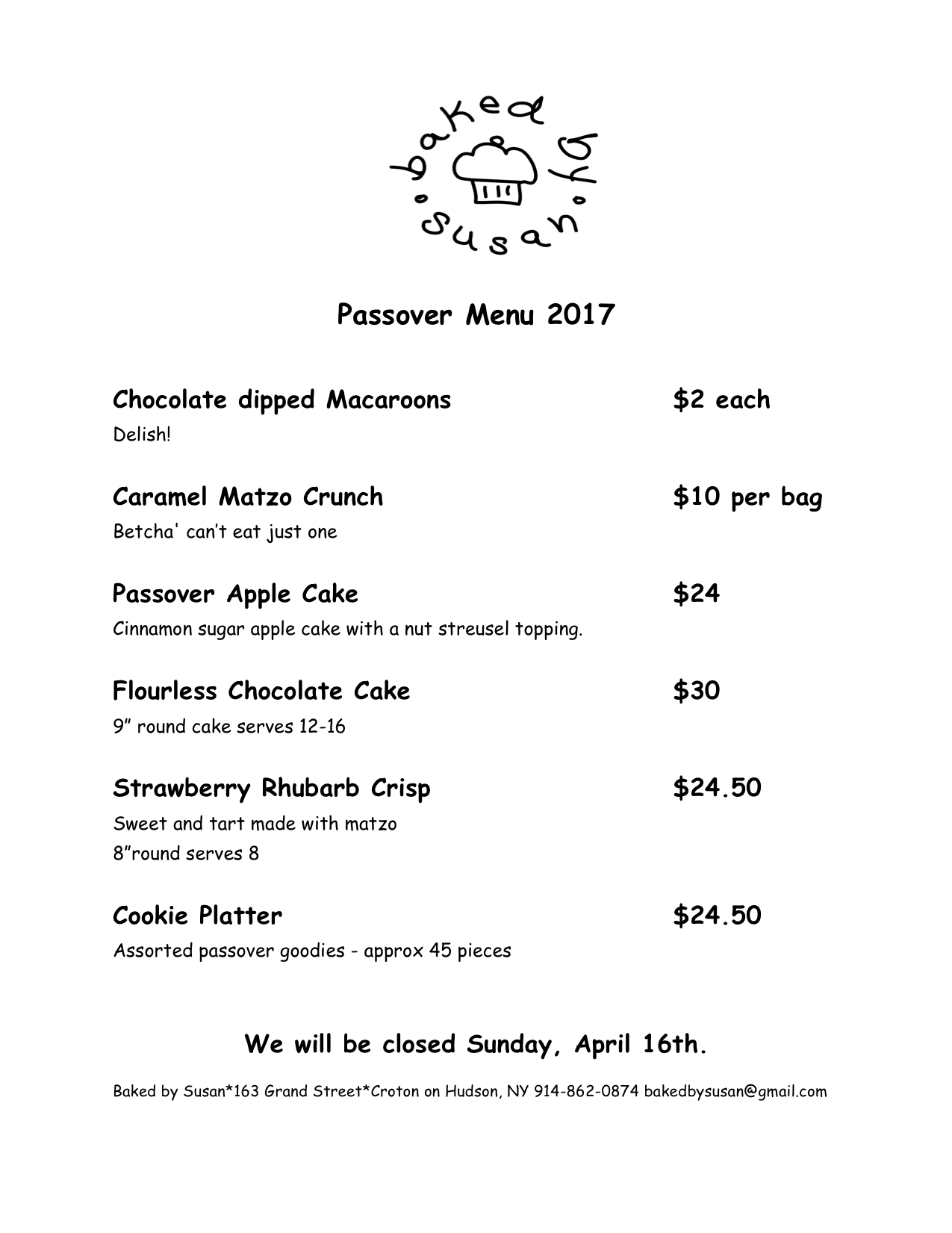 Passover Baked Goods Westchester NY